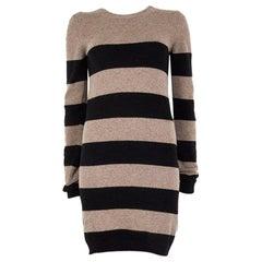 STELLA MCCARTNEY taupe & black wool & cashmere STRIPED Sweater Dress 40 S