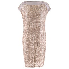 Stella McCartney Taupe Sequin Shift Dress SIZE 38