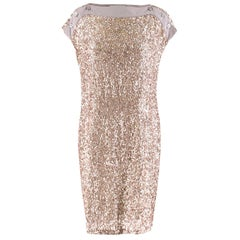 Stella McCartney Taupe Sequin Shift Dress - Size US 2