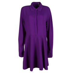 Stella McCartney Violet Crepe Long Sleeve Flared Dress M