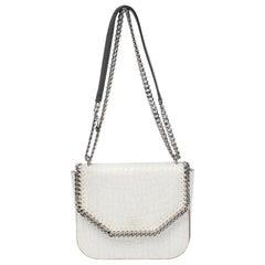 Stella McCartney White Croc Embossed Faux Leather Falabella Star Box Bag