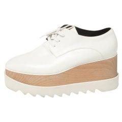 Stella McCartney White Faux Leather Elyse Platforms Sneakers Size 38