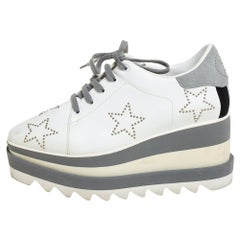 Stella McCartney White/Grey Faux Leather And Suede Elyse Star Sneakers Size 35