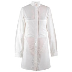 Stella McCartney White High Neck Shirt Dress - Size US 4