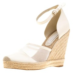 Stella McCartney White Mesh And Faux Leather Ankle Strap Wedge Sandal Size 40