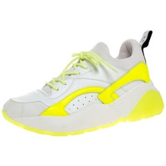 Stella McCartney White/Neon Green Faux Leather/Fabric Eclypse Sneakers Size 41