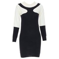STELLA MCCARTNEY wool cashmere black white illusion colorblocked dress IT36 XS