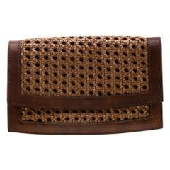Stella McCartney Woven Faux Leather Flap Clutch