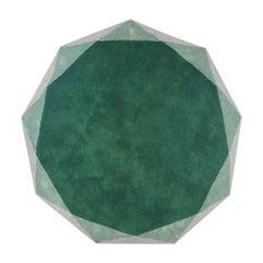 Stella Medium Diamond Green and Gray Rug by Nika Zupanc