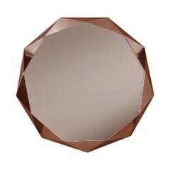 Stella Mirror, Small Round Mirror in Rose Gold Metal by Nika Zupanc