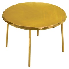 Stella Round Dining Table in Gold Glossy Finished Metal by Nika Zupanc