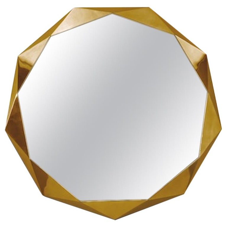 Stella Small Wall Console Mirror Gold by Nika Zupanc For Sale