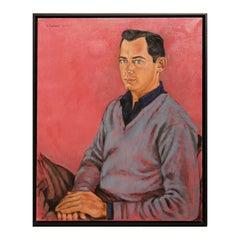 """Naturalistic Red and Blue Toned Seated """"Portrait of Oscar McCracken"""""""
