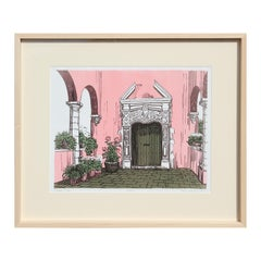 """""""A Loggia"""" Abstract Pink and Green Spanish Outdoor Architectural Landscape Print"""