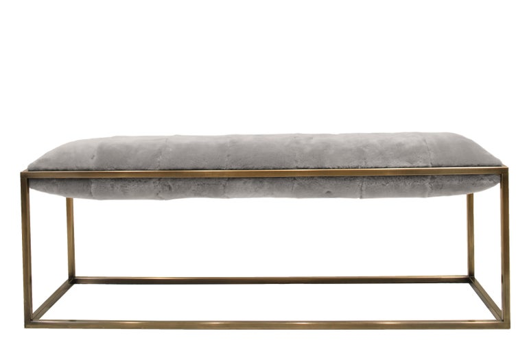 Modern Stellar Bedroom Bench Grey Sheepskin Seat and Industrial Bronze Frame For Sale
