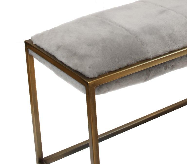 British Stellar Bedroom Bench Grey Sheepskin Seat and Industrial Bronze Frame For Sale