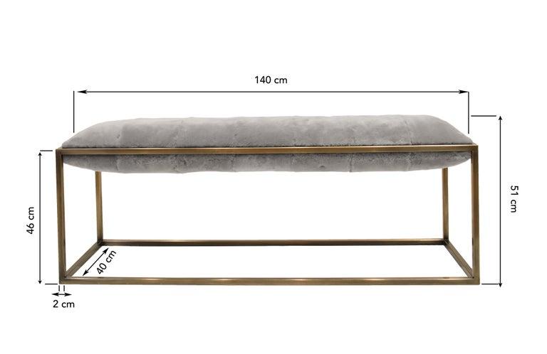 Bronzed Stellar Bedroom Bench Grey Sheepskin Seat and Industrial Bronze Frame For Sale