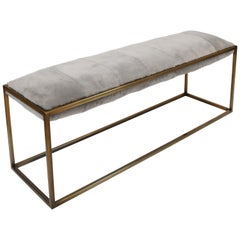 Stellar Bedroom Bench Grey Sheepskin Seat and Industrial Bronze Frame