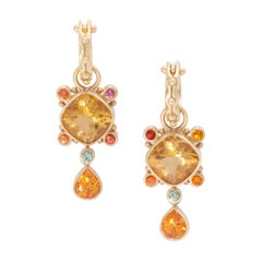 Stellar Golden Beryl Drop Earrings and Hoops