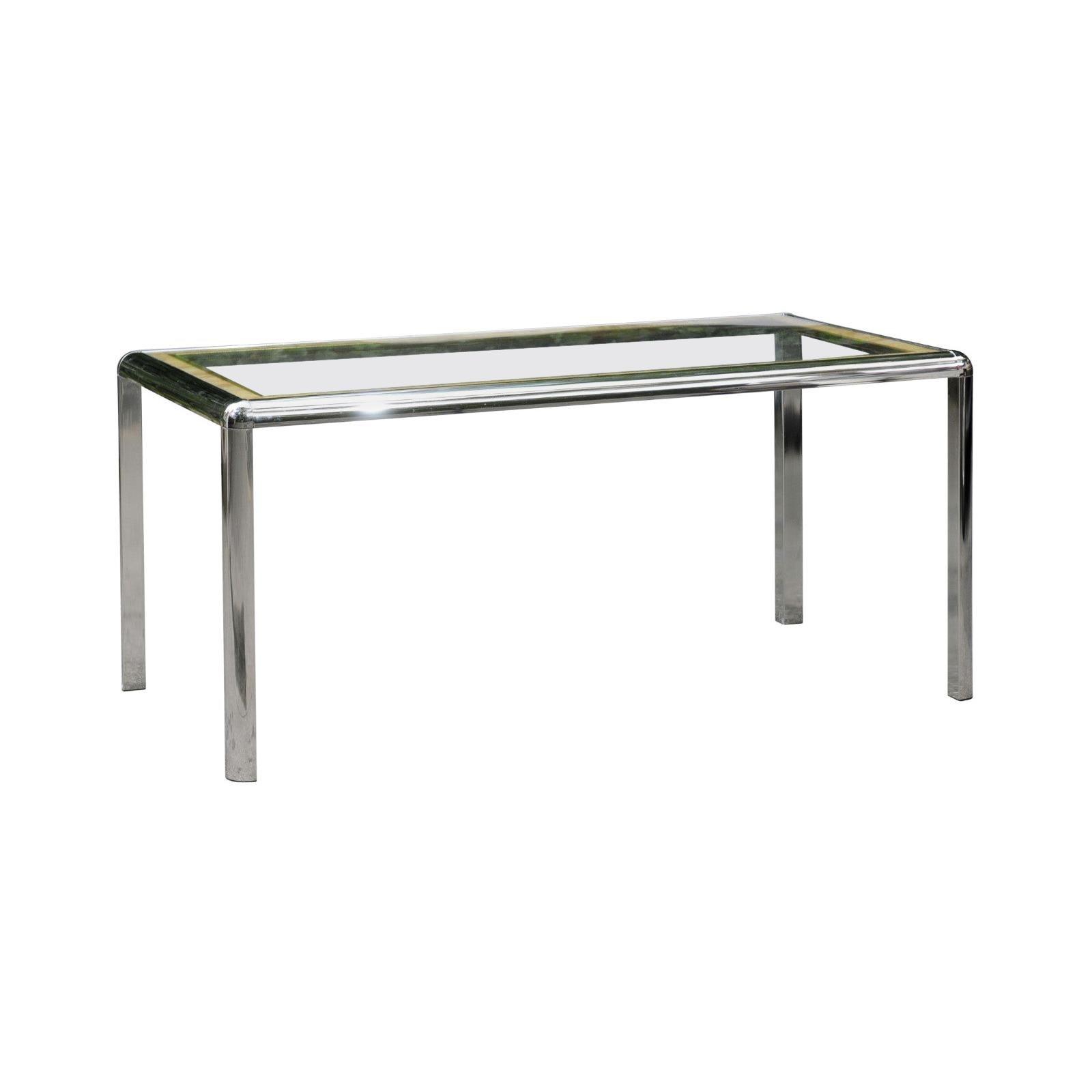 Stellar Italian Steel, Cane and Brass Dining or Writing Table, circa 1970