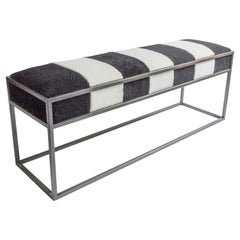 Stellar Living Bench with Monochrome Sheepskin Seat and Industrial Bronze Frame