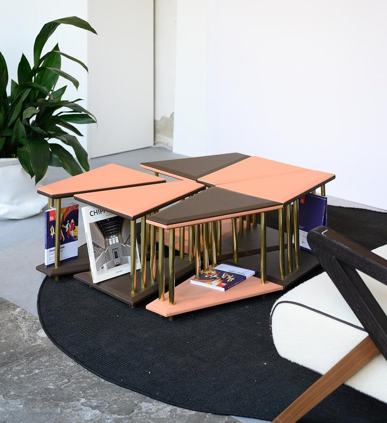 Modern Stellar, Low Sofa Table, Leather Tops and Brass Legs, Used for Exhibition For Sale