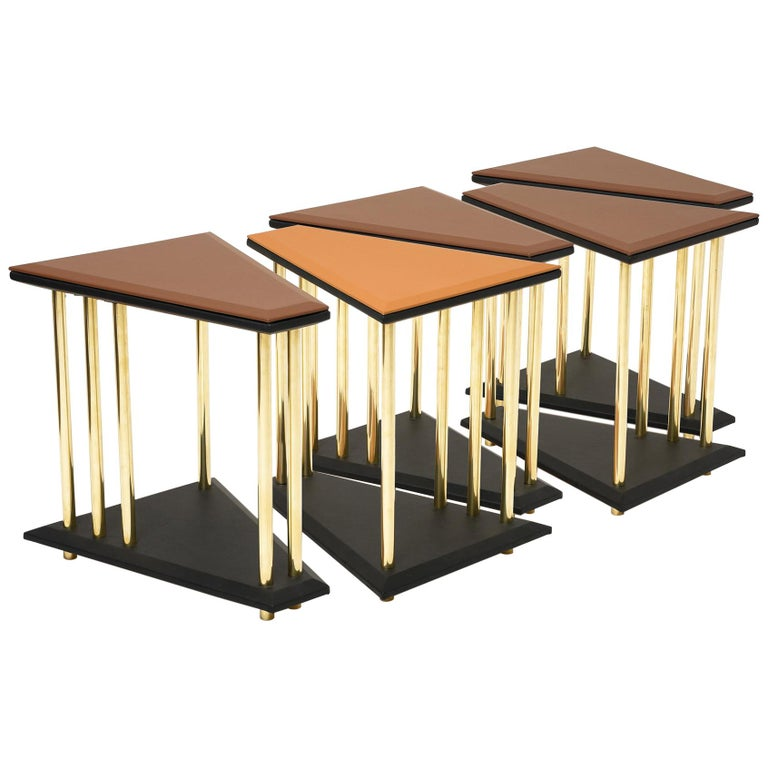 Italian Stellar, Low Sofa Table, Leather Tops and Brass Legs, Used for Exhibition For Sale