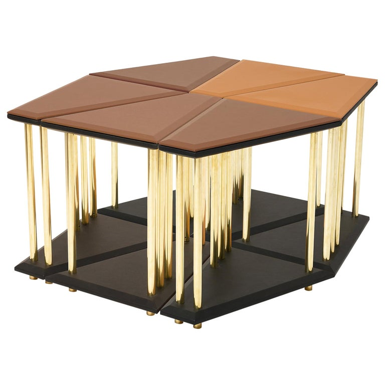 Stellar, Low Sofa Table, Leather Tops and Brass Legs, Used for Exhibition For Sale
