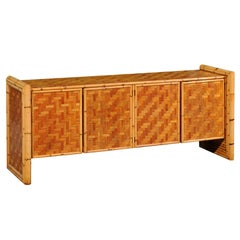 Stellar Meticulously Restored Bamboo and Cane Basketweave Credenza, circa 1975