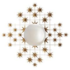 Stellar Mirror Glass in Antique Gold Finish