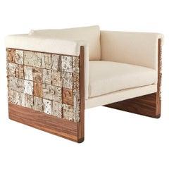 Stellar Modern Handmade Ceramic Walnut, Boucle' Upholstered Luxury Lounge Chair