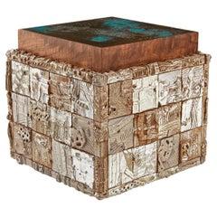 Stellar Modern Handmade Ceramic, Walnut, Verdigris Copper Side Table