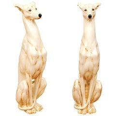 Stellar Pair of Italian Glazed Ceramic Whippet Sculptures, circa 1970