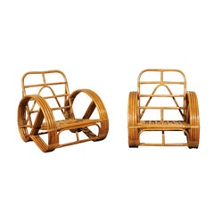 Stellar Restored Pair of Rattan and Cane Round Pretzel Loungers, circa 1950