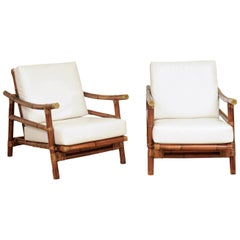 Stellar Restored Pair of Rattan Campaign Loungers, circa 1960