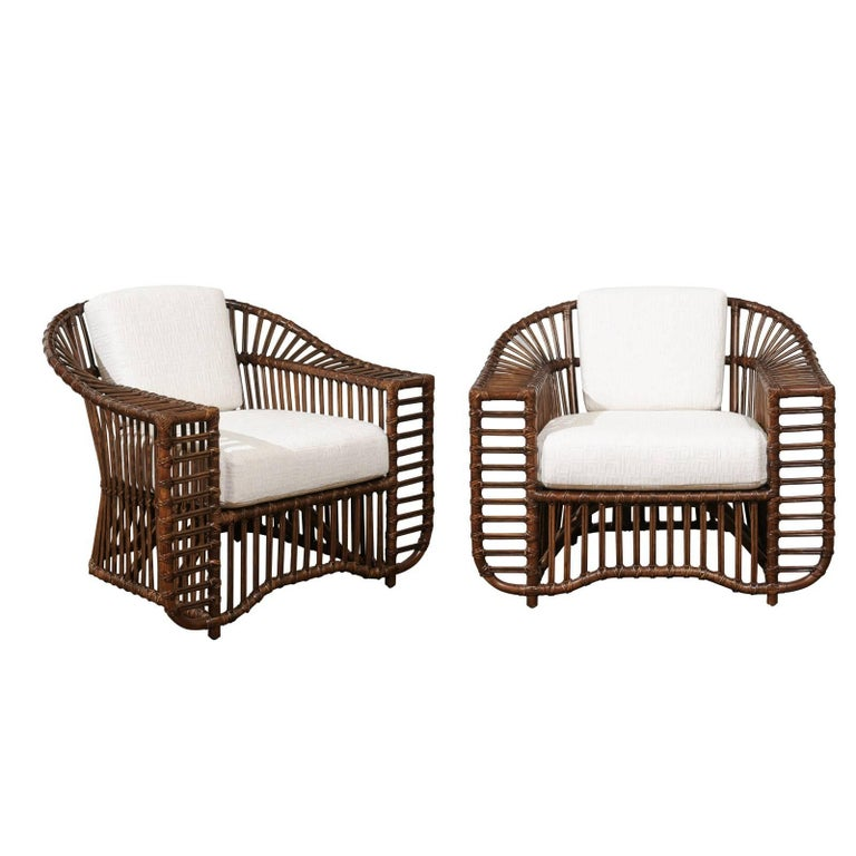Stellar Restored Pair of Tiara Lounge or Club Chairs in Tobacco Finish
