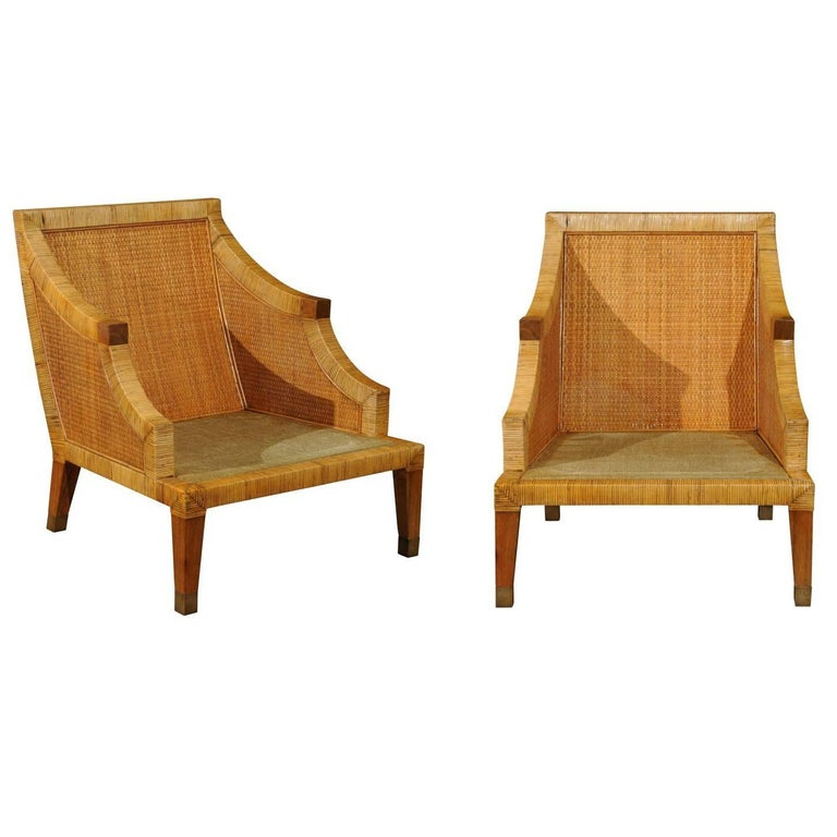 Stellar Restored Pair of Vintage Cane Wrapped Club Chairs by Bielecky Brothers