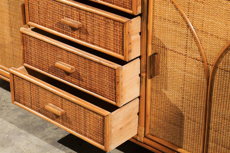 Stellar Restored Rattan and Cane Cabinet, circa 1970 For Sale 3