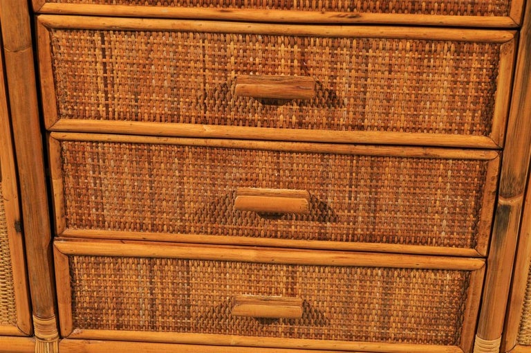Raffia Stellar Restored Rattan and Cane Cabinet, circa 1970 For Sale