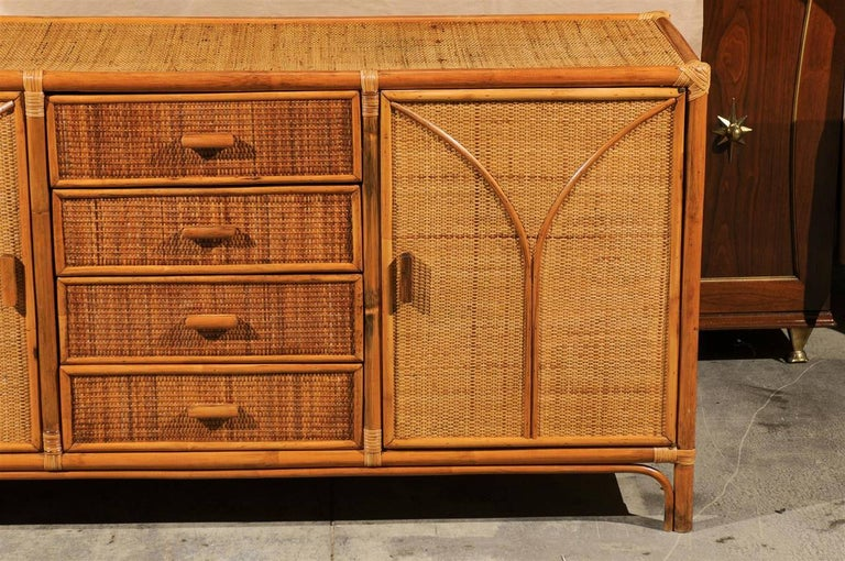 Stellar Restored Rattan and Cane Cabinet, circa 1970 For Sale 2