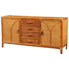 Stellar Restored Rattan and Cane Cabinet, circa 1970