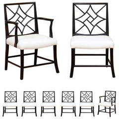 Stellar Restored Set of 8 Mahogany Cockpen Dining Chairs in Espresso, circa 1940