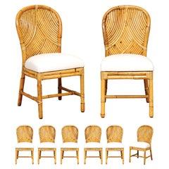 Stellar Restored Set of 8 Rattan Parquetry Bistro Chairs by McGuire, circa 1975
