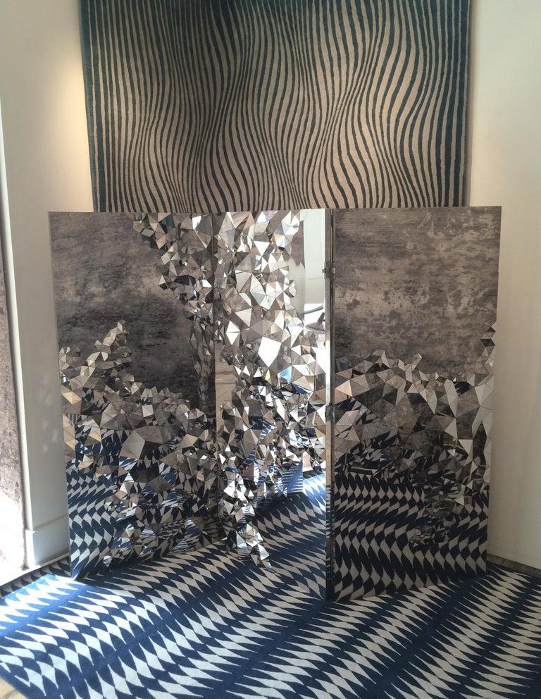 Modern Geometric Screen in Mirror Polished Steel,