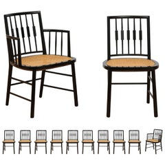 Stellar Set of 12 Modern Windsor Chairs by Michael Taylor, Cane Seats