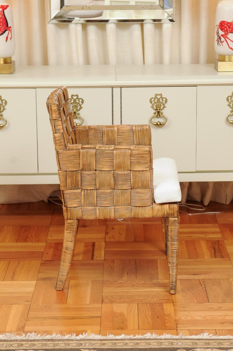 Stellar Set of 8 Block Island Arm Dining Chairs by John Hutton for Donghia For Sale 3