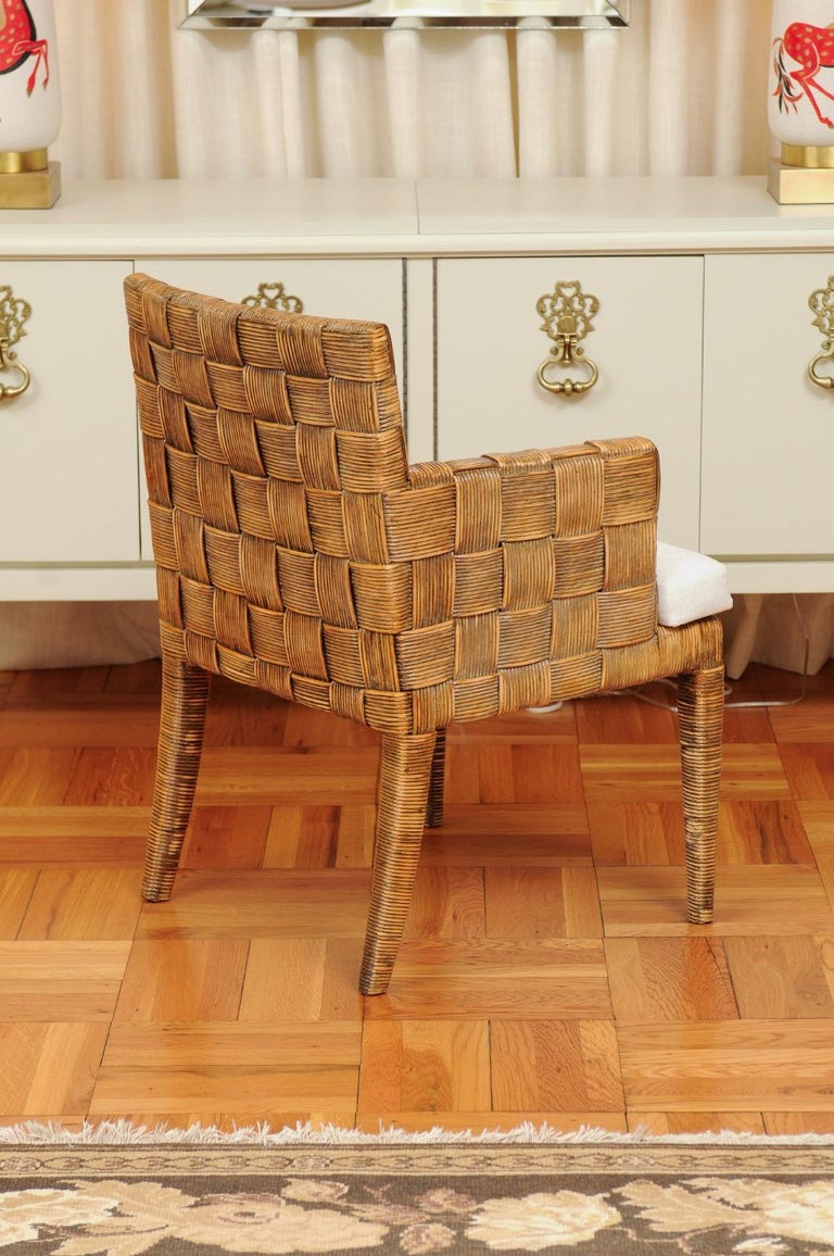 Stellar Set of 8 Block Island Arm Dining Chairs by John Hutton for Donghia For Sale 4