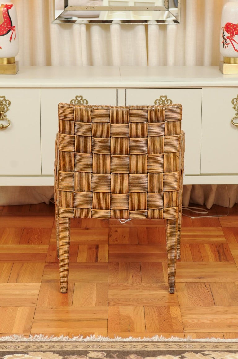 Stellar Set of 8 Block Island Arm Dining Chairs by John Hutton for Donghia For Sale 5