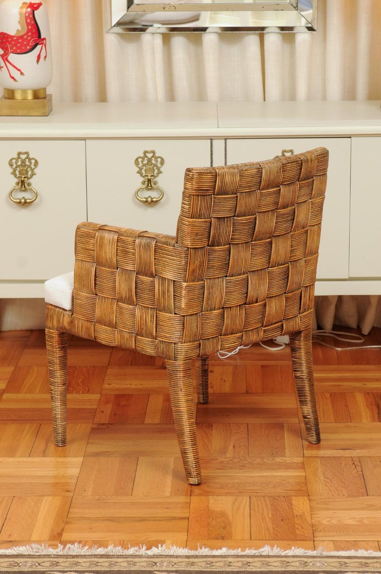 Stellar Set of 8 Block Island Arm Dining Chairs by John Hutton for Donghia For Sale 8