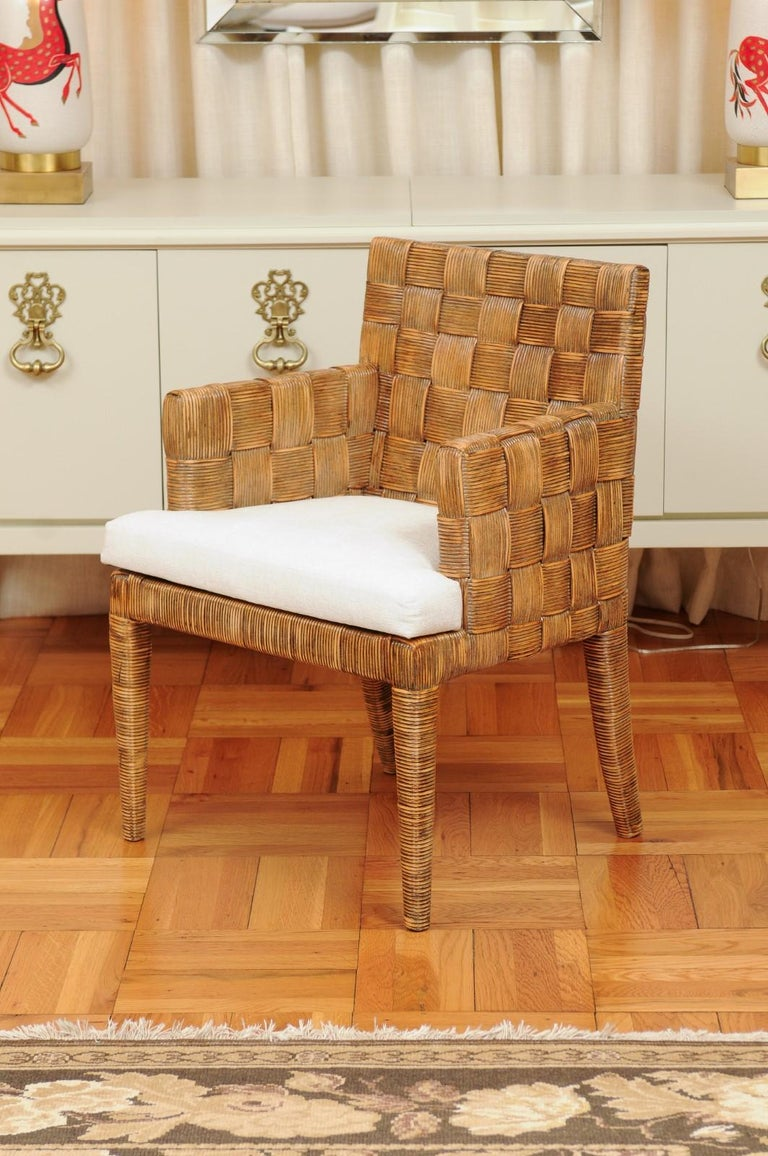 Stellar Set of 8 Block Island Arm Dining Chairs by John Hutton for Donghia For Sale 10